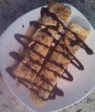 Peanut Butter & Jelly Crepes with Chocolate Sauce