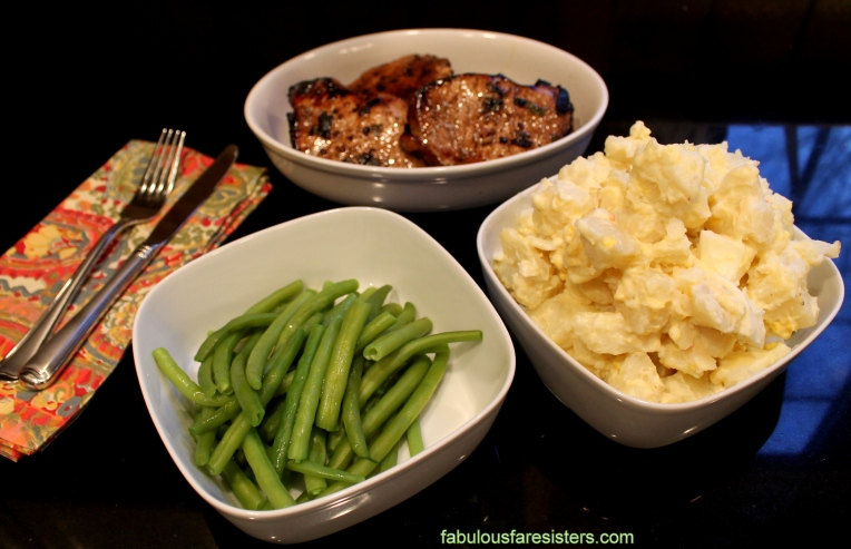 Potato Salad & Veggies with Balsamic & Sage Pork Chops