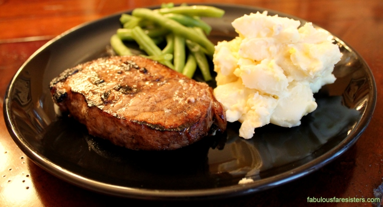 Balsamic & Sage Pork Chops with Potato Salad & Veggie