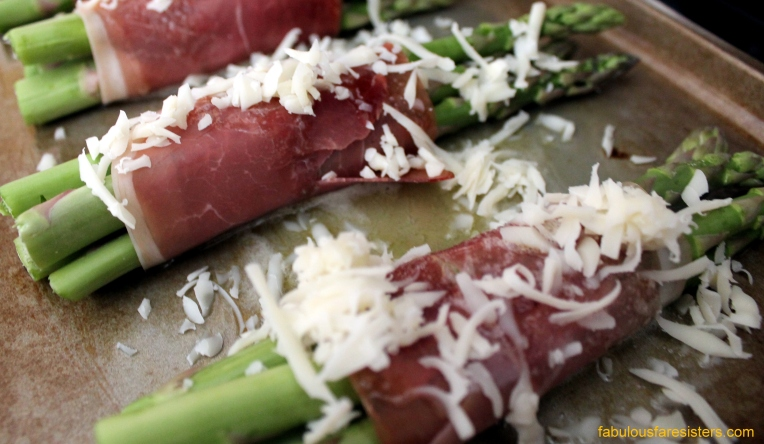 Prosciutto wrapped Roasted Asparagus with Parmesan Cheese drizzled with Balsamic Reduction