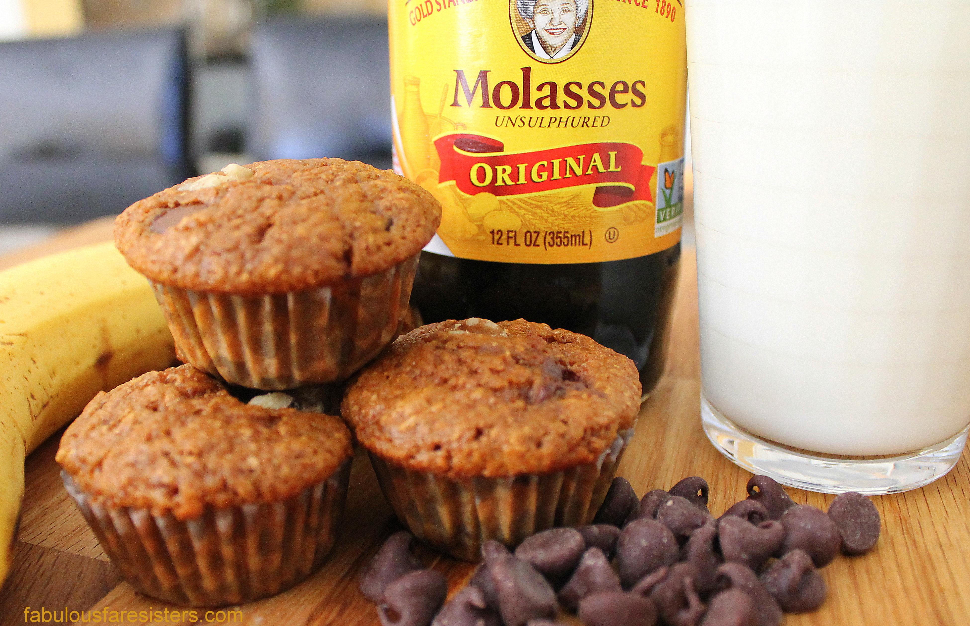 Banana Chocolate Chip Molasses Bran Muffins