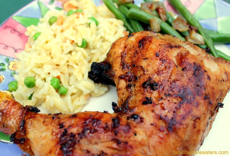 Honey-Lemon Glazed Chicken, Rice Pilaf & Green Beans with Sautéed Shallots