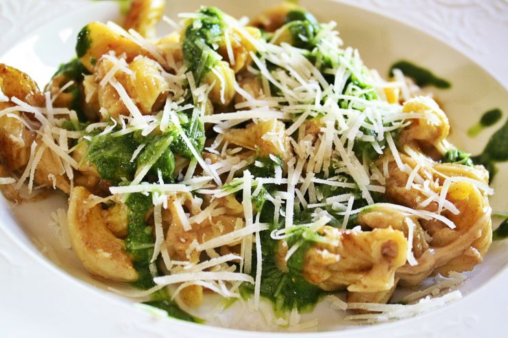 Spinach & Oregano Pesto over Brown Butter Pasta fabulousfaresisters.com