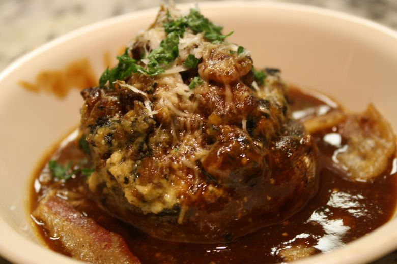 Sausage Stuffed Mushrooms in a Barbecue Wine Sauce fabulousfaresisters.com