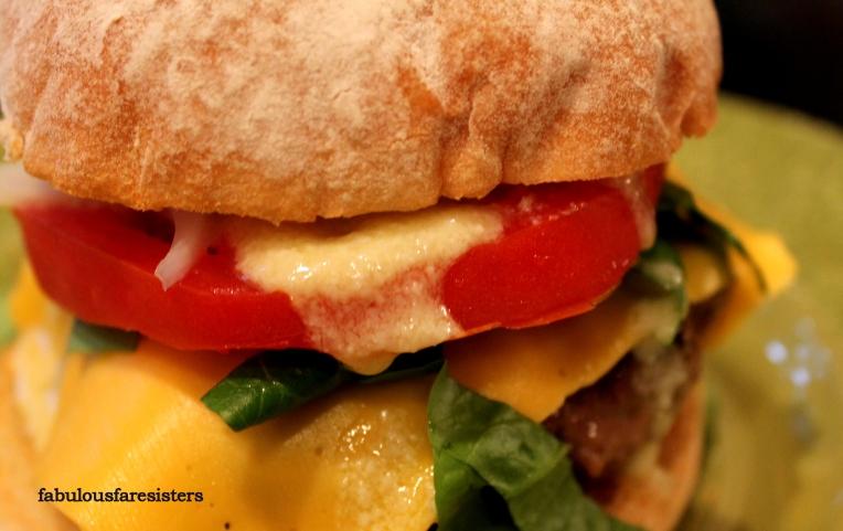 Sirloin Burgers with Feta-Garlic Dressing