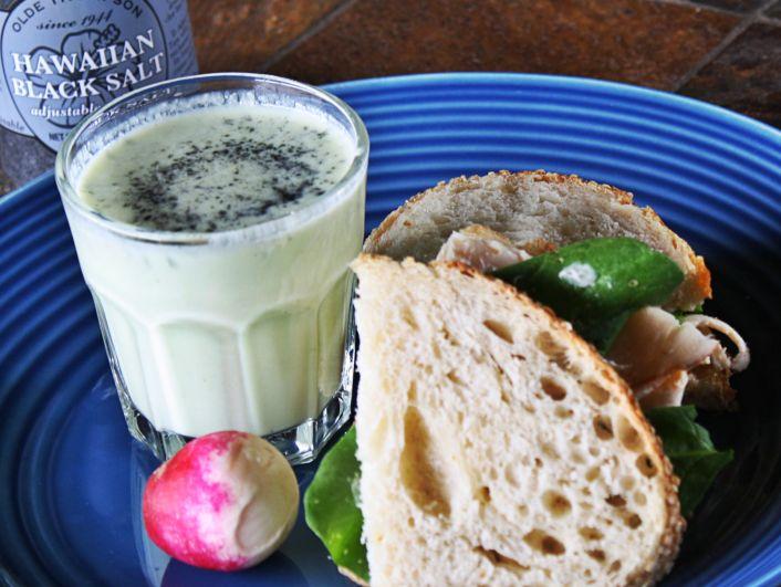 White Gazpacho with Hawaiian Black Salt fabulousfaresisters.com