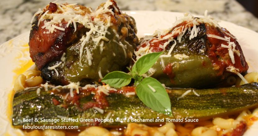 Beef & Sausage Stuffed Green Peppers with a Bechamel and Tomato Sauce