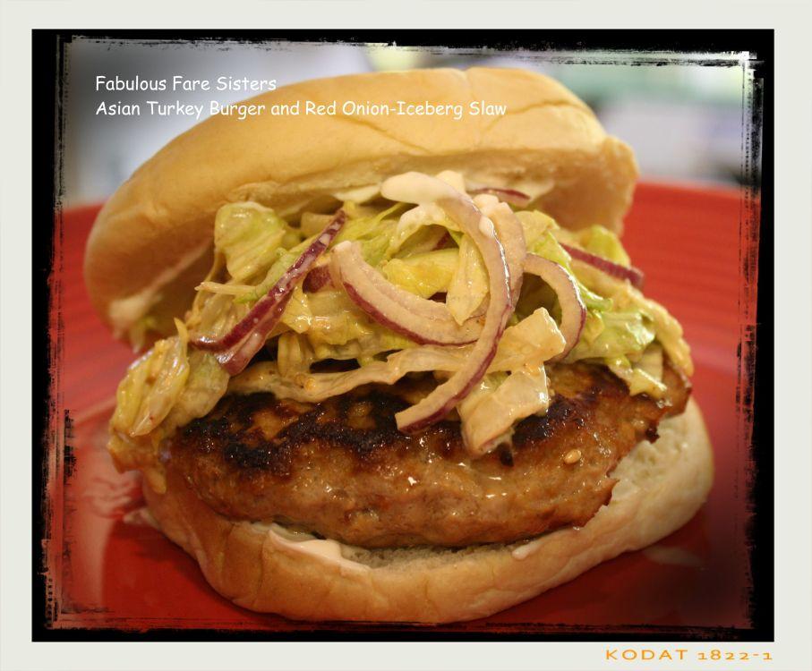 Asian Turkey Burger and Red Onion-Iceberg Slaw