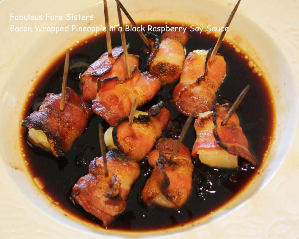 Bacon Wrapped Pineapple in a Black Raspberry Soy Sauce 2