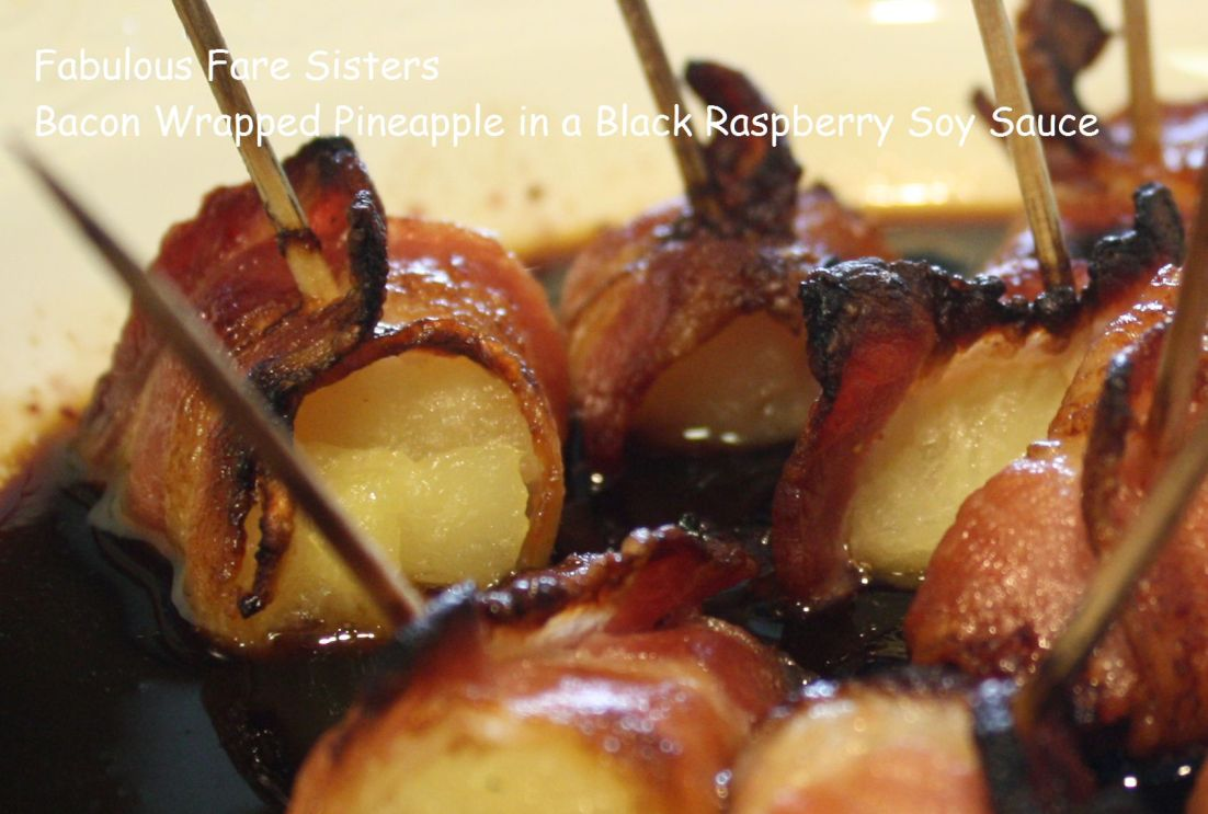 Bacon Wrapped Pineapple in a Black Raspberry Soy Sauce 3