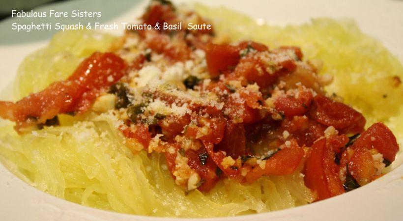 Spaghetti Squash & Fresh Tomato & Basil Saute