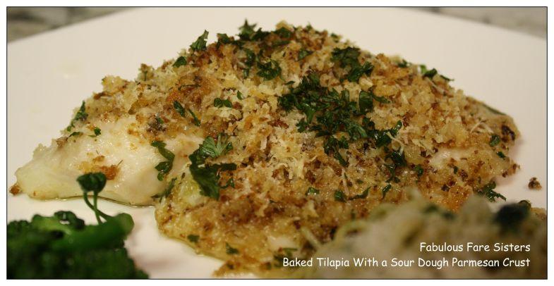 Baked Tilapia With a Sour Dough Parmesan Crust