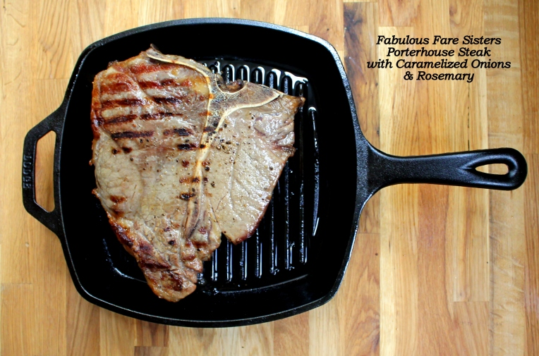 Porterhouse Steak with Caramelized Onions & Rosemary