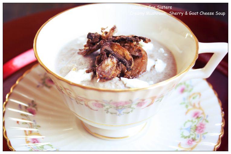 Creamy Mushroom, Sherry & Goat Cheese Soup