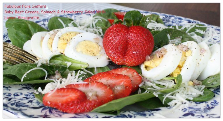 Baby Beet Greens, Spinach & Strawberry Salad With Lemon Vinaigrette 1