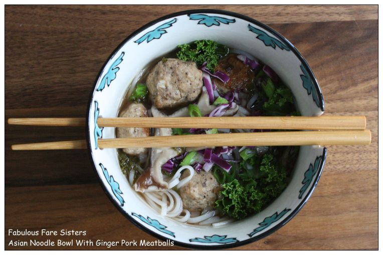 Asian Noodle Bowl With Ginger Pork Meatballs 1