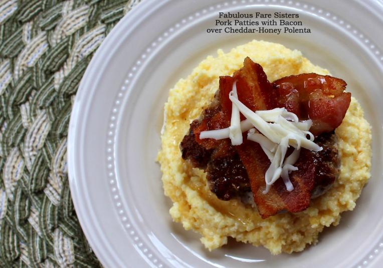 Pork Patties with Bacon over Cheddar-Honey Polenta