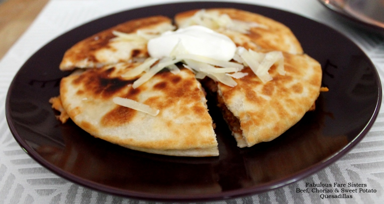 Beef, Chorizo & Sweet Potato Quesadillas