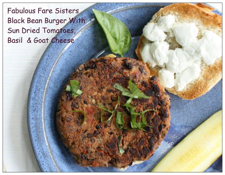 Black Bean Burger With Sun Dried Tomatoes, Basil & Goat Cheese 1