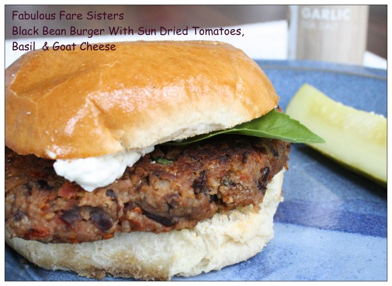 Black Bean Burger With Sun Dried Tomatoes, Basil & Goat Cheese
