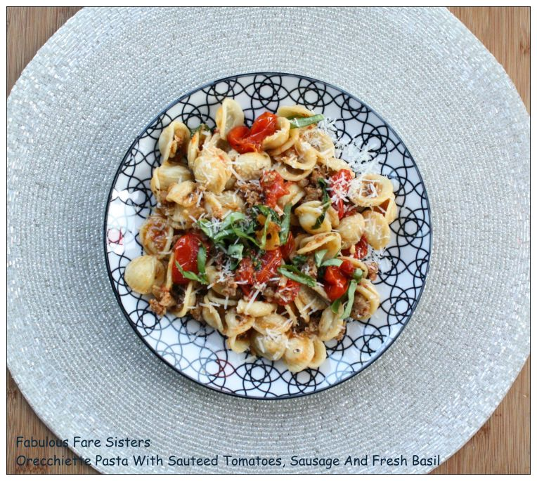 Orecchiette Pasta With Sauted Tomatoes, Sausage And Fresh Basil