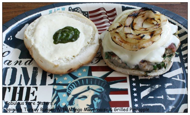 Spinach Turkey Burger With Mango Mayonnaise & Grilled Pineapple 5