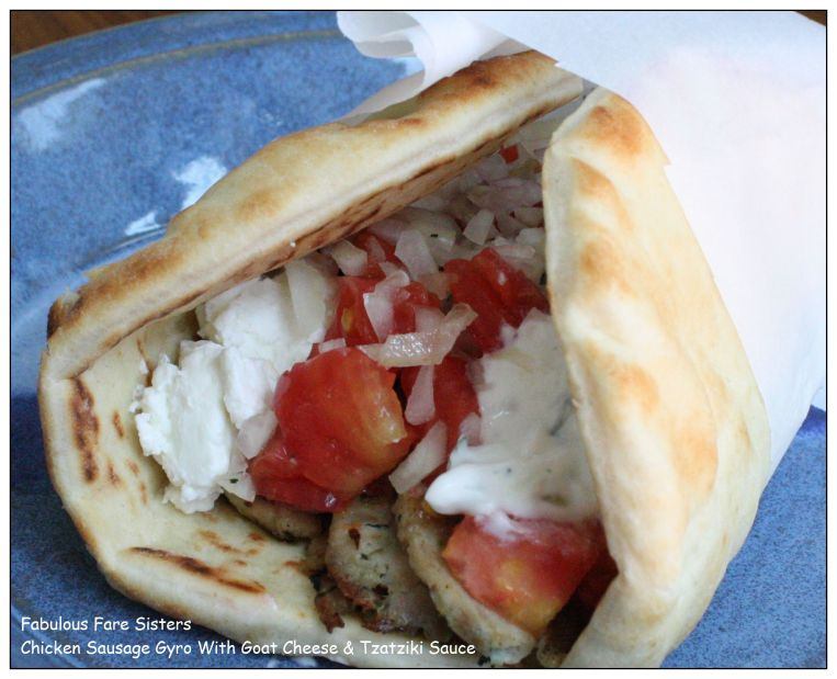 Chicken Sausage Gyro With Goat Cheese & Tzatziki Sauce 1