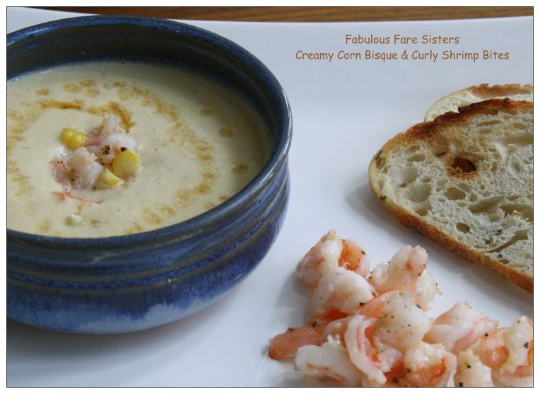Creamy Corn Bisque & Curly Shrimp Bites