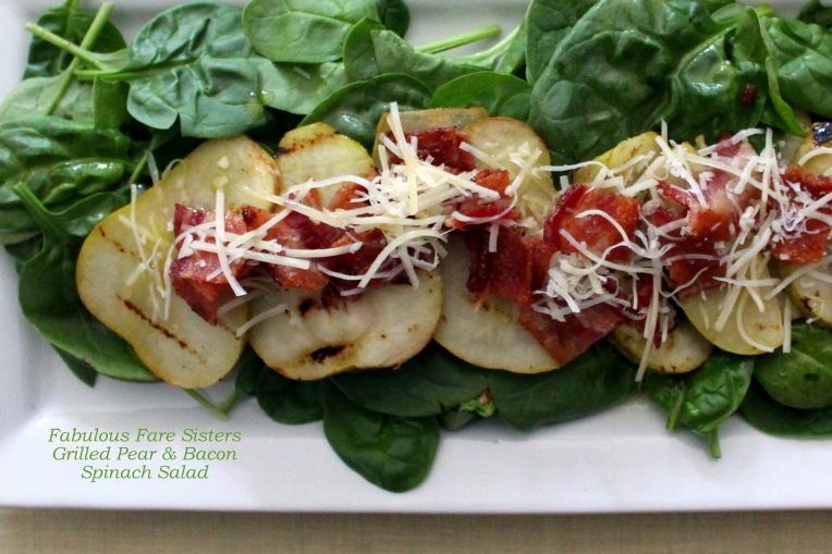 Grilled Pear & Bacon Spinach Salad