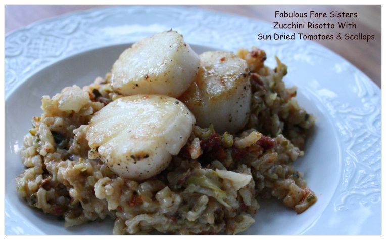 Zucchini Risotto With Sun Dried Tomatoes & Scallops