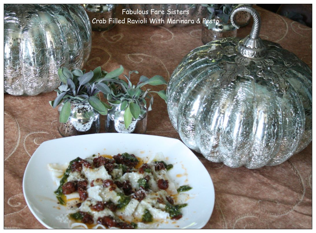crab-filled-ravioli-with-marinara-pesto