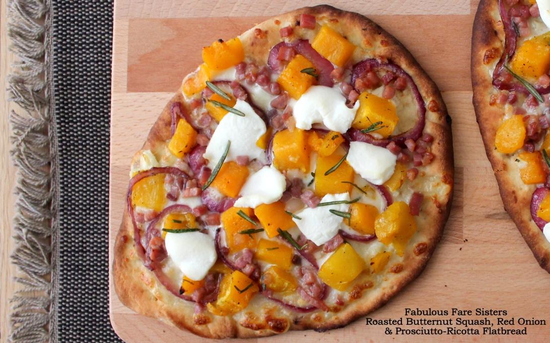 Roasted Butternut Squash, Red Onion & Prosciutto-Ricotta Flatbread