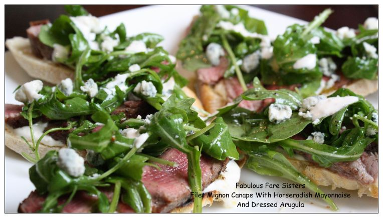 filet-mignon-canape-with-horseradish-mayonnaise-and-dressed-arugula