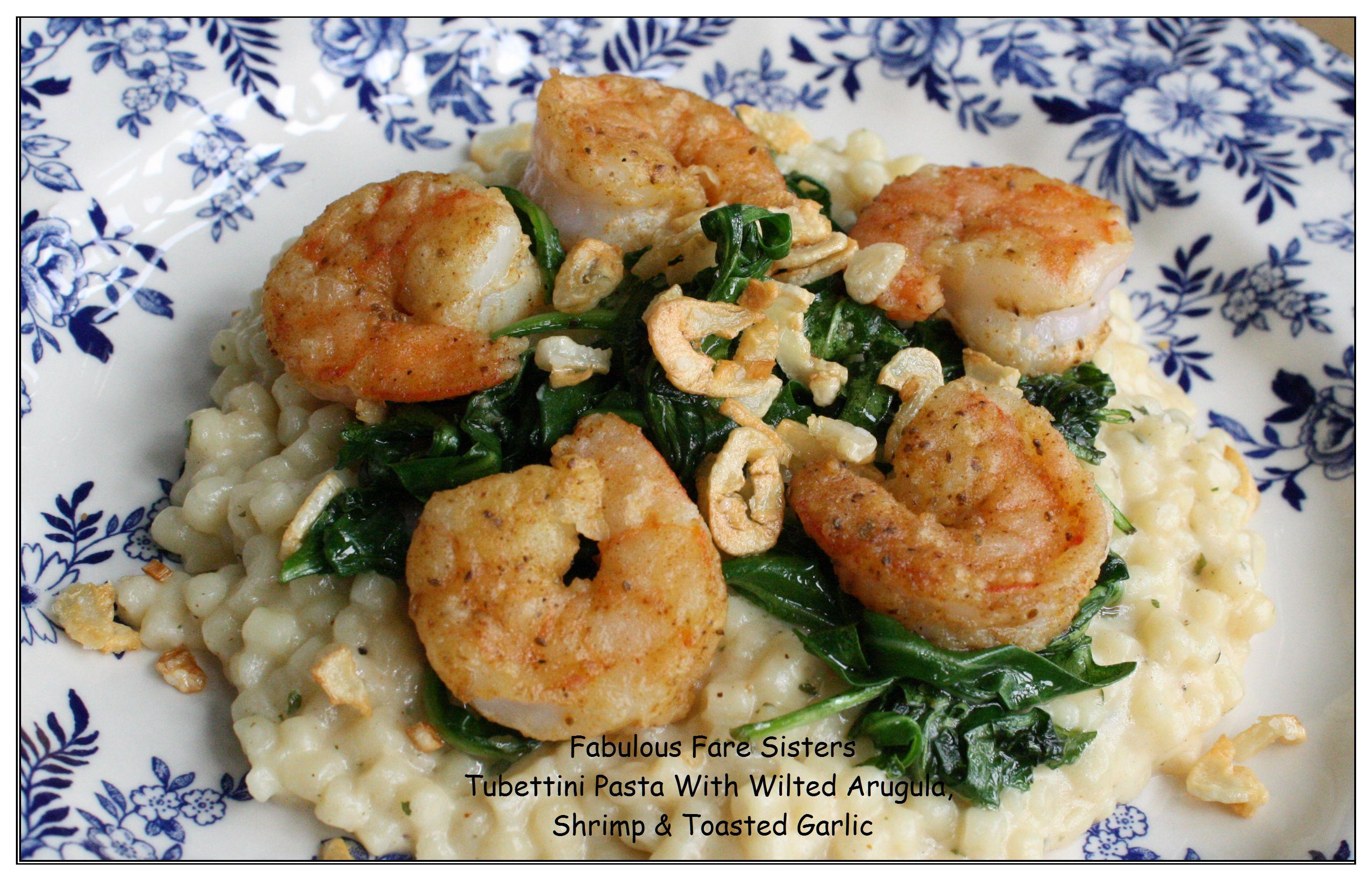 tubettini-pasta-with-wilted-arugula-shrimp-toasted-garlic-1