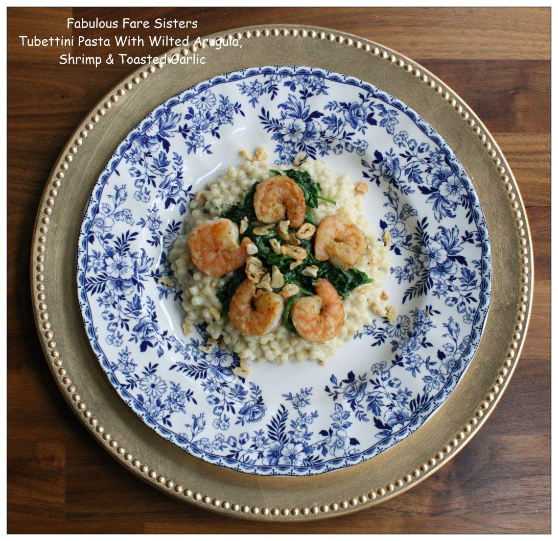 tubettini-pasta-with-wilted-arugula-shrimp-toasted-garlic
