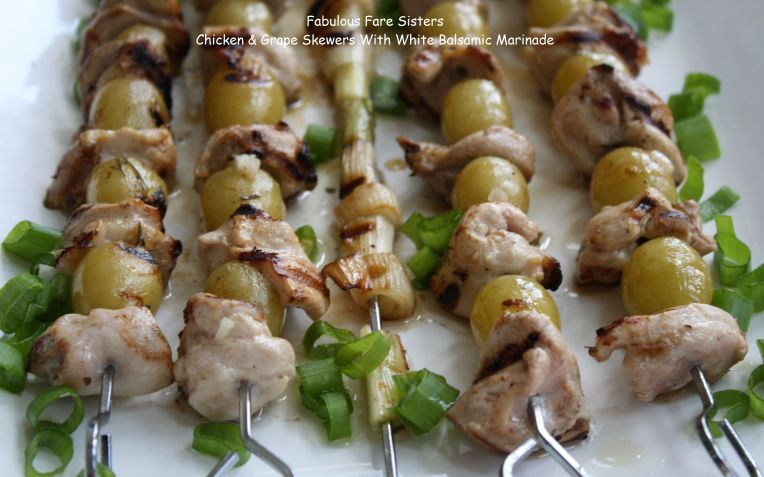 Chicken & Grape Skewers With White Balsamic Marinade 1