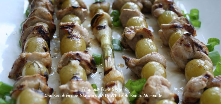 Chicken & Grape Skewers With White Balsamic Marinade