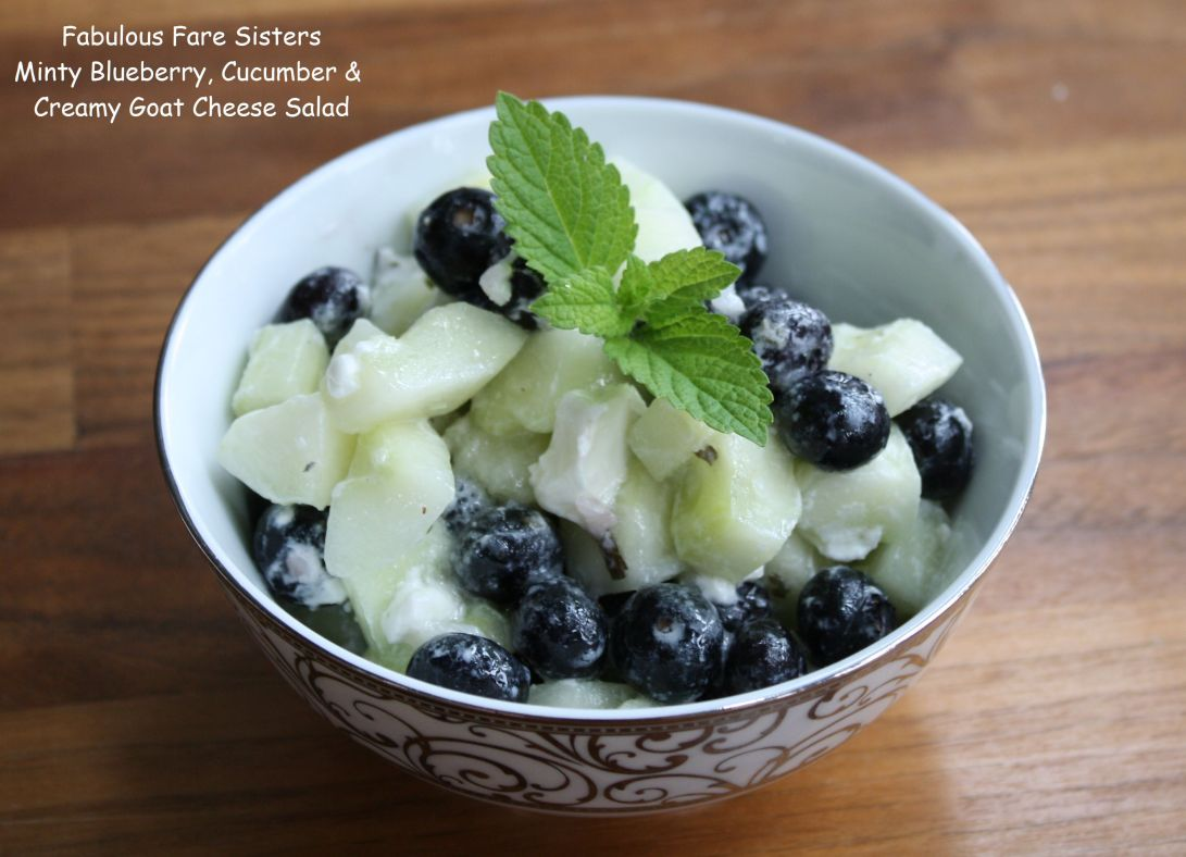 Minty Blueberry, Cucumber & Creamy Goat Cheese Salad
