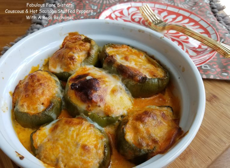 Couscous & Hot Sausage Stuffed Peppers With A Rosa Bechamel