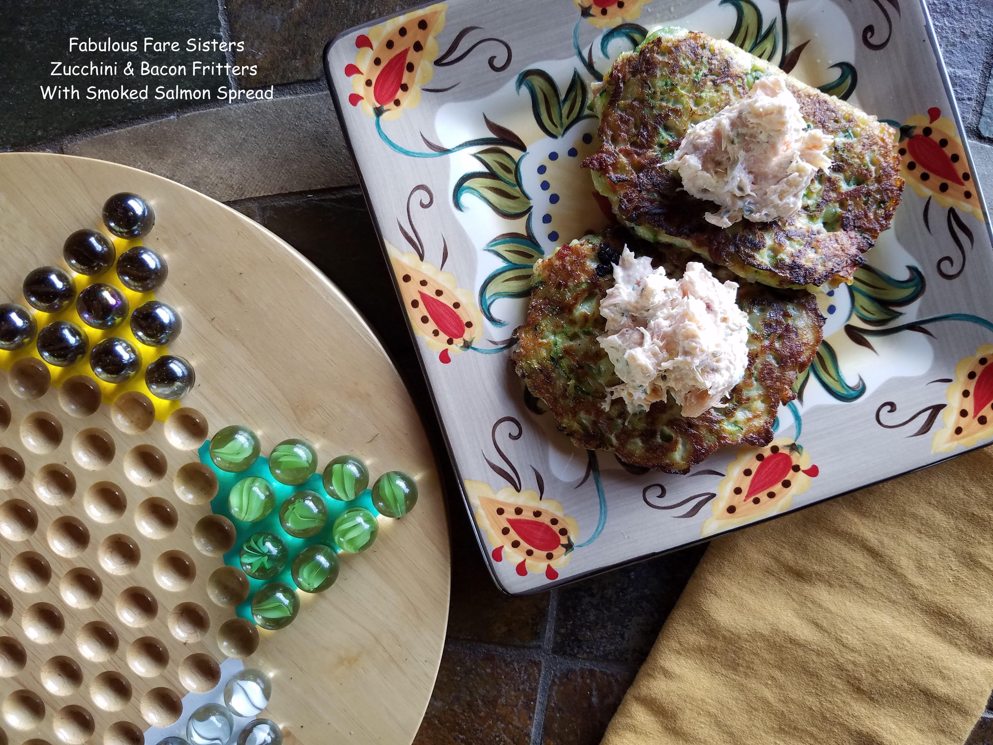 Zucchini & Bacon Fritters With Smoked Salmon Spread