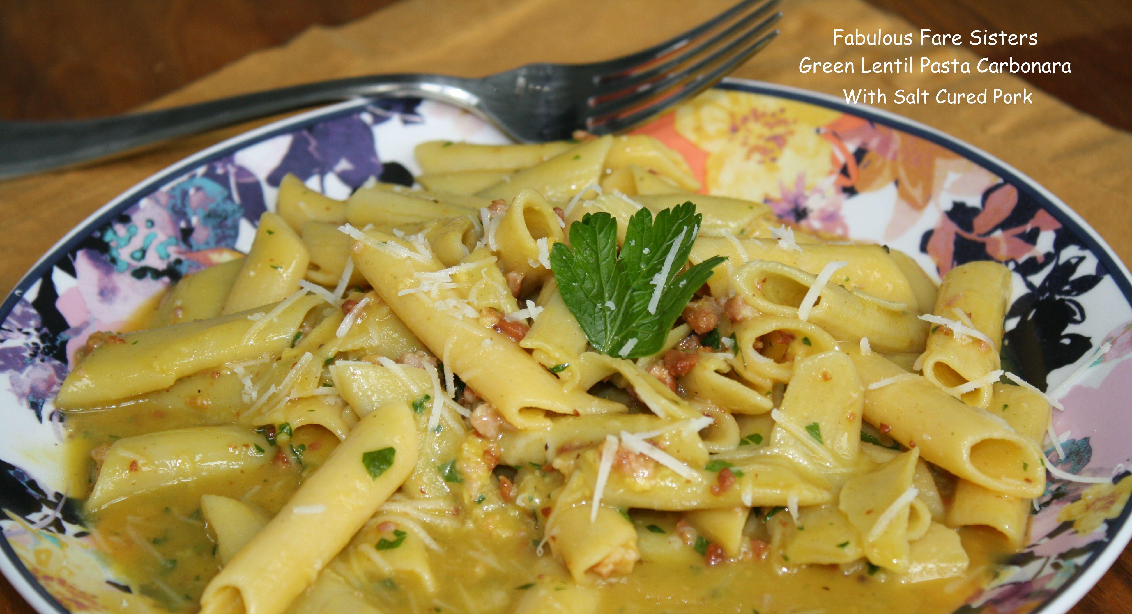 Green Lentil Pasta Carbonara With Salt Cured Pork