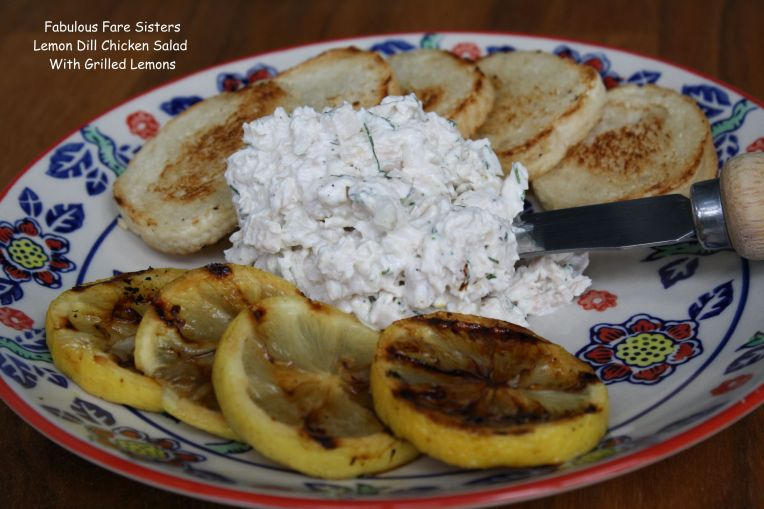 Lemon Dill Chicken Salad With Grilled Lemons