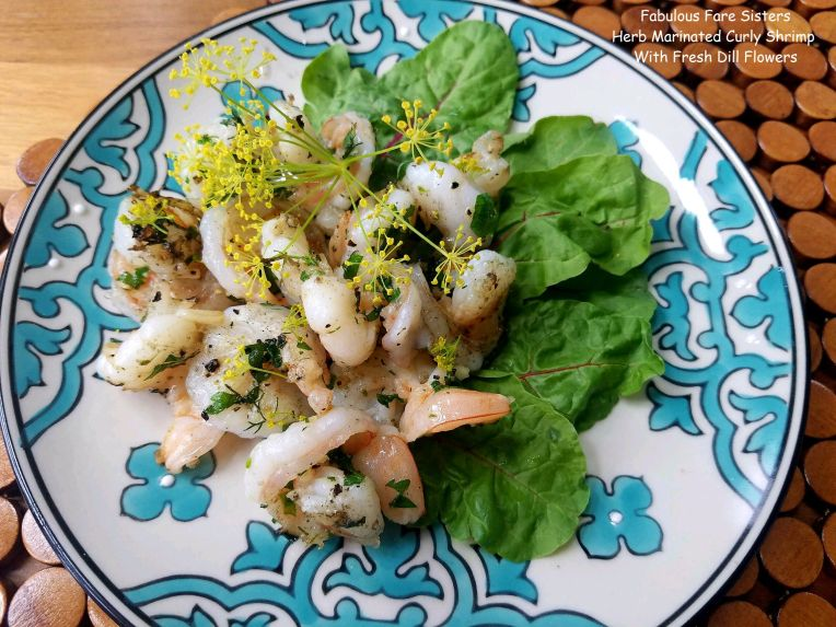 Herb Marinated Curly Shrimp With Fresh Dill Flowers