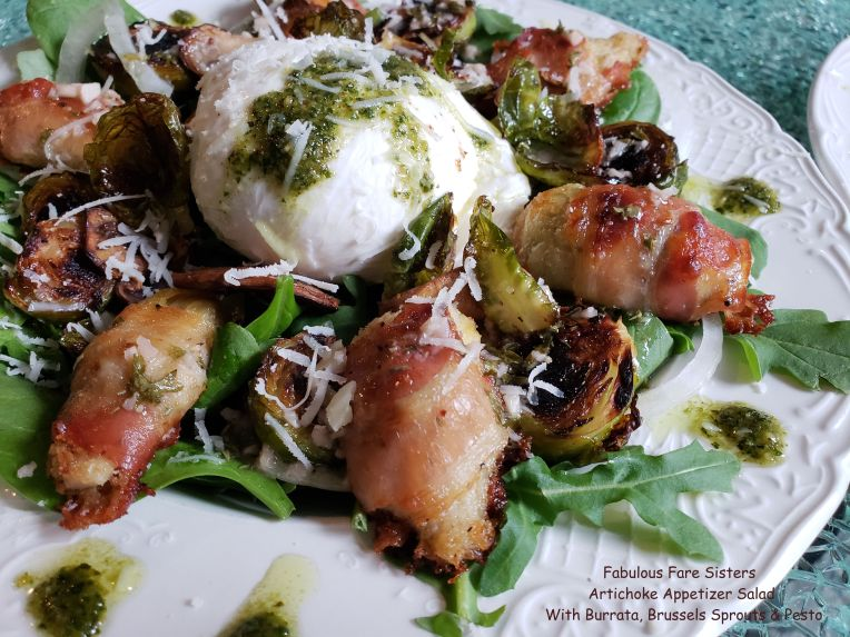 Artichoke Appetizer Salad With Burrata, Brussels Sprouts & Pesto