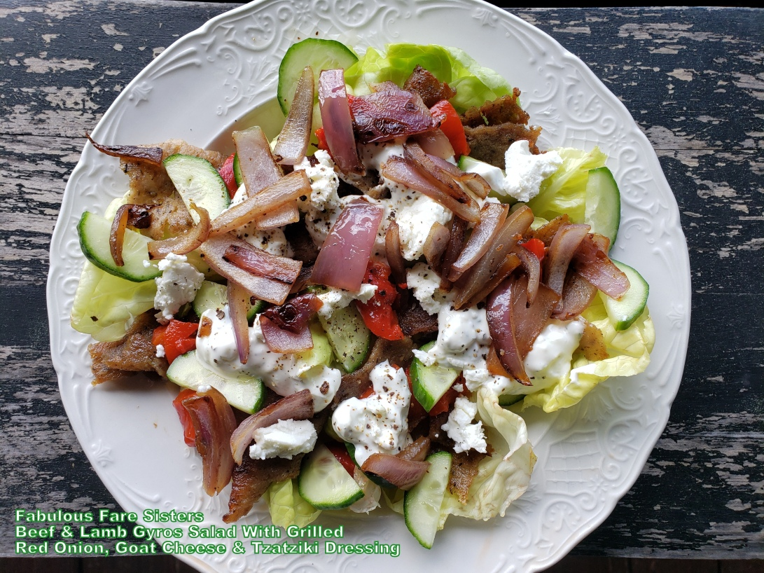 Beef & Lamb Gyros Salad With Grilled Red Onions, Goat Cheese & Tzatziki Dressing