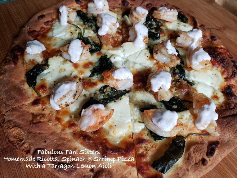 Homemade Ricotta, Spinach & Shrimp Pizza